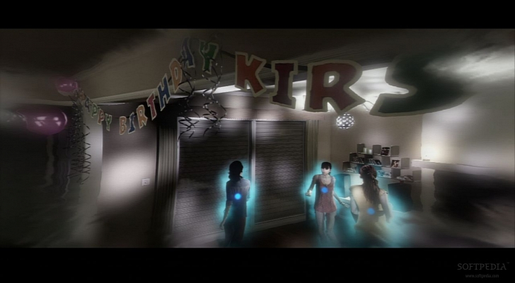 Screenshot from Aidens point of view. The distorted effects on a birthday scene clearly shows available interactions on each character, but gives no clue to the player about what action will be performed, forcing players to make uninformed choices.