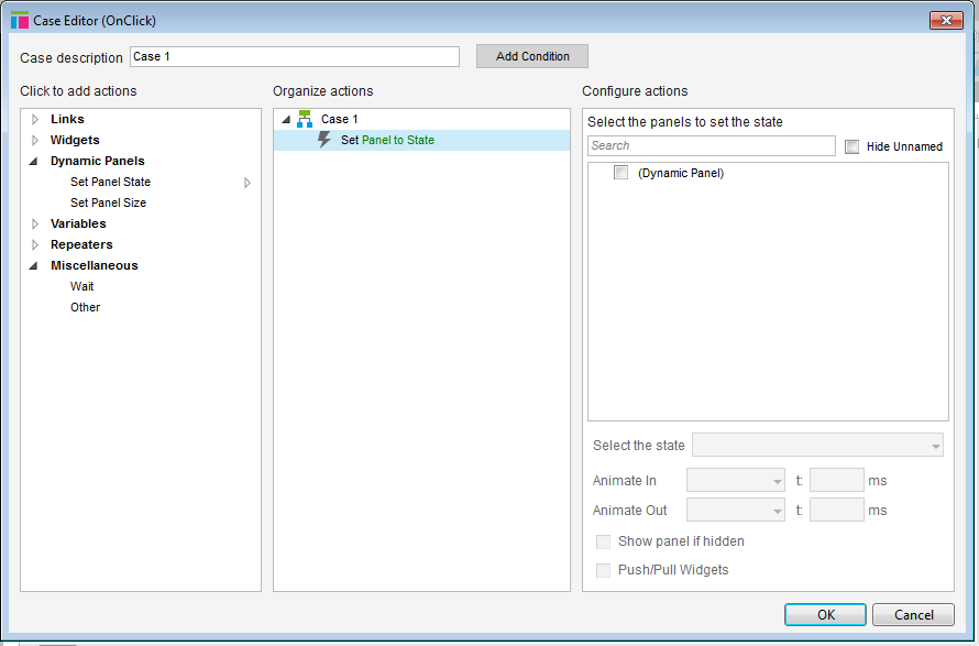 Screenshot of the case editor with set panel state to state selected.