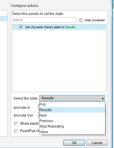 "Actions panel in the case editor, configued to set dyanmic panel state to ""Results""."