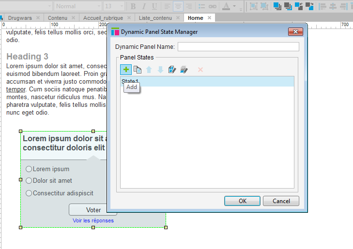 "Screenshot of a dynamic panel manager with a single state called ""State1"" and a mouse clicking on the + button to add a second state."