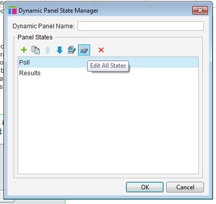 "Screenshot of the dynamic panel manager, showing a dynamic panel containing two states: ""Poll"" and ""Results""."