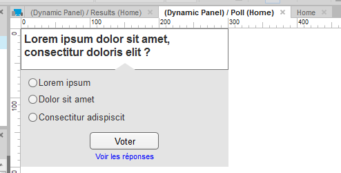 Screenshot of the content of a dynamic panel being edited in Axure.