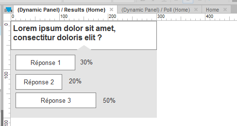 SCreenshot of the results panel content showing results of a poll within the second state of a dynamic panel.