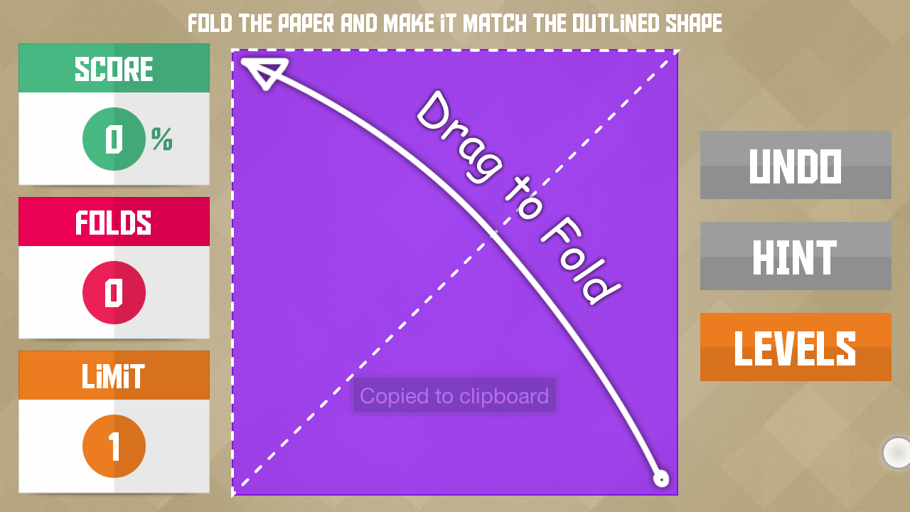 "Paperama level with ""drag to fold"" instruction."