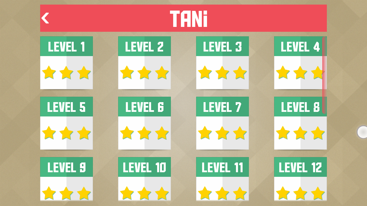 Paperama list of levels with basic label on top and up to threee stars below.