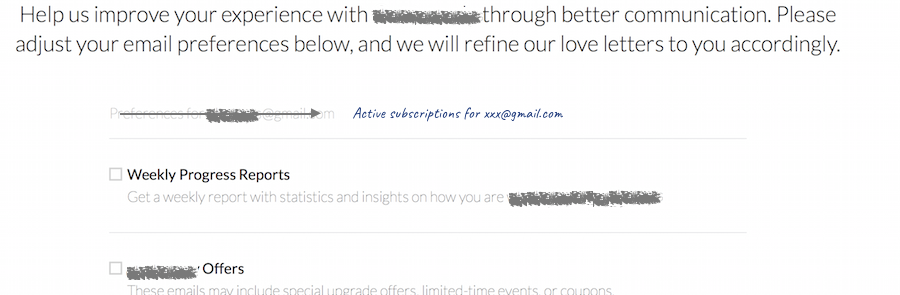 Unsubscribe wording improvement example